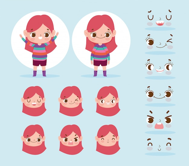 Verschiedene gesichter der ausdrücke des kleinen mädchens der zeichentrickfilm-figur-animation