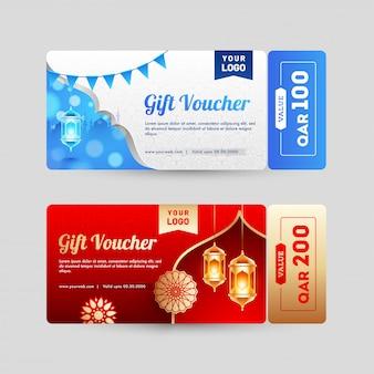 Verschiedene gestaltung von geschenkgutschein oder gutschein layout mit verschiedenen o