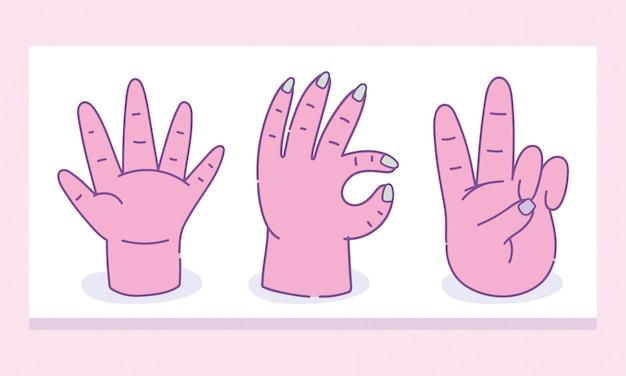 Verschiedene gesten der menschlichen hände isolierten ikonendesign