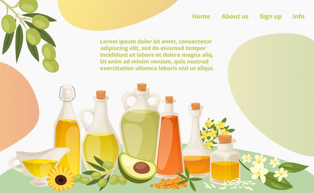 Verschiedene gesunde öllandung webseite, konzept banner website vorlage cartoon illustration. moderne avocado, sonnenblume und olivenfett.