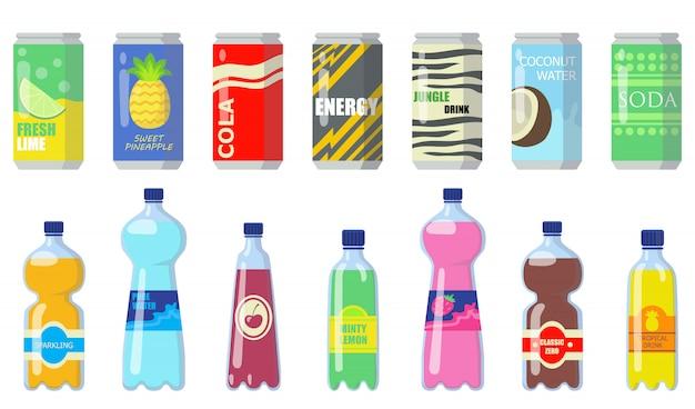 Verschiedene getränke in metalldosen und plastikflaschen