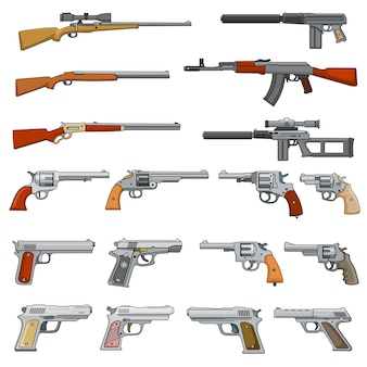 Verschiedene gewehr-, gewehr- und pistolenkarikaturvektorwaffenikonen