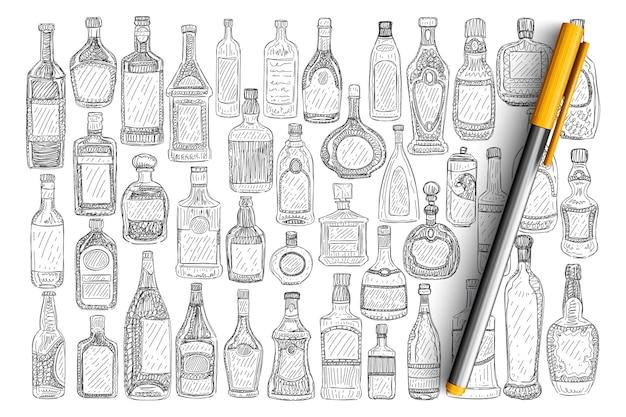 Verschiedene glasflaschen doodle set. sammlung von handgezeichneten glasflaschen mit etiketten für getränkeparfüm, die flüssigkeiten und öl isoliert halten.