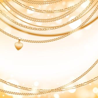 Verschiedene goldene ketten auf hellem glühhintergrund mit herzanhänger. gut für cover card banner luxus.