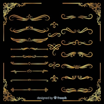 Verschiedene goldene ornamente packen