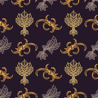 Verschiedene goldene schwarzarbeit gravur vintage barock blumen ornament illustrationen dekoration nahtlosen muster dunklen hintergrund