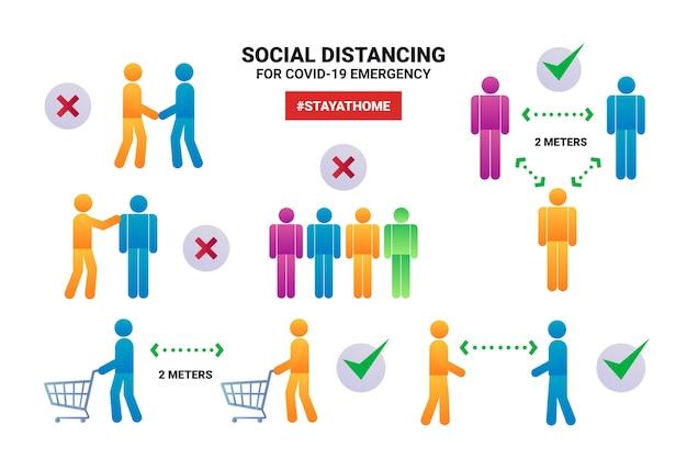 Verschiedene grafiken zur sozialen distanzierung