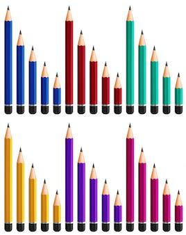 Verschiedene größen von bleistiften in sechs farben