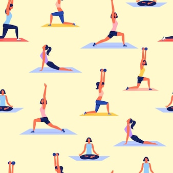 Verschiedene haltungs-frauen, die yoga üben. sport-vektor.
