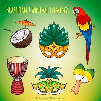 Verschiedene hand brasilien karneval elemente gezeichnet