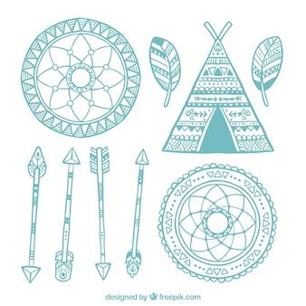 Verschiedene hand gezeichnet boho elemente