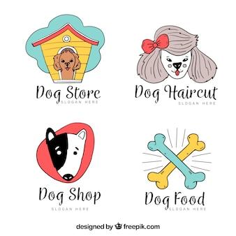 Verschiedene hand gezeichnet hund logos