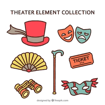 Verschiedene hand gezeichnet theaterelemente