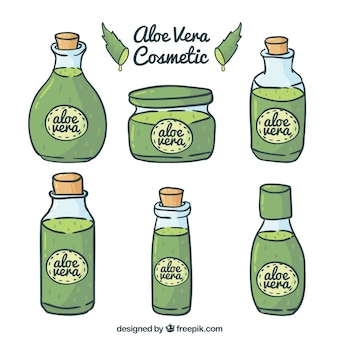 Verschiedene handgezeichnete aloe vera kosmetik
