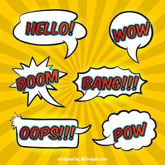 Verschiedene handgezeichnete komische sprechblasen