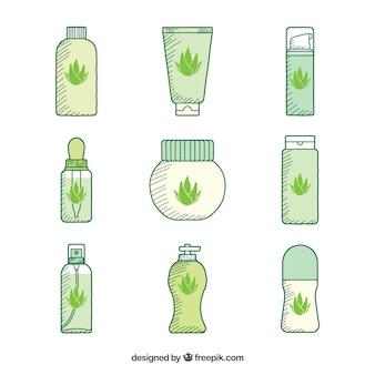 Verschiedene handgezeichnete kosmetik von aloe vera