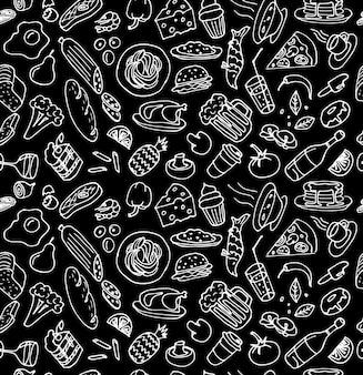Verschiedene handgezeichnete lebensmittel kochgeschirr doodle umriss weiße kreide skizze nahtlose muster auf schwarz