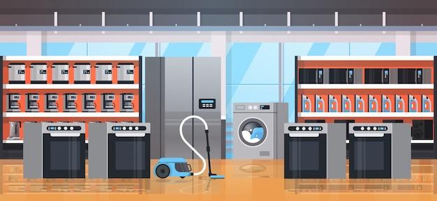 Verschiedene haushaltsgeräte elektrische hausausstattung moderne einzelhandelsgeschäft showroom innenraum flach horizontal