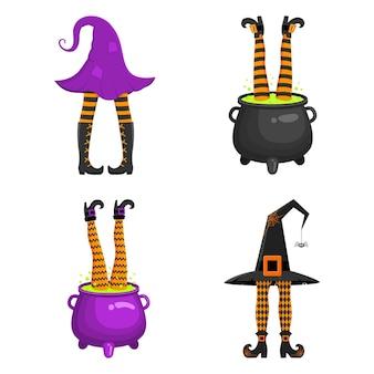 Verschiedene hexenbeine ragen aus hut und kessel lustige designelemente für halloween-party