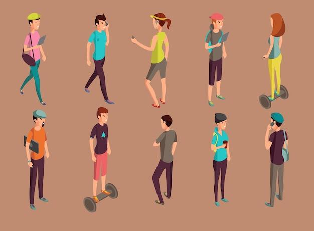 Verschiedene hipster, die geräte stehen und verwenden