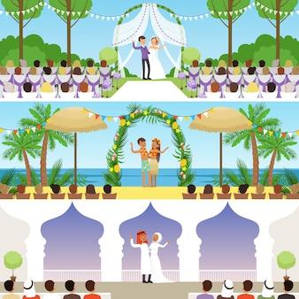 Verschiedene hochzeitszeremonien setzen, traditionelle, exotische tropische strand- und muslimische hochzeitenvektorillustrationen