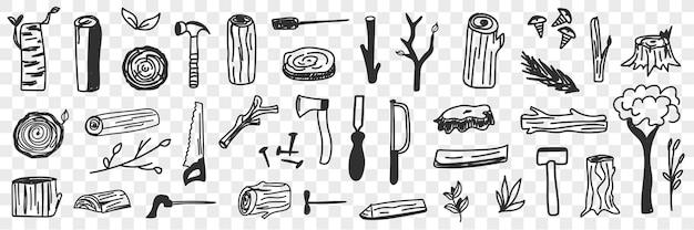 Verschiedene holzfäller werkzeuge doodle set