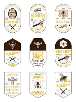 Verschiedene honig-vintage-etiketten und designelemente