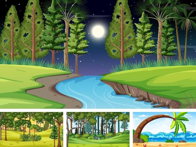 Verschiedene horizontale naturszenen