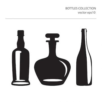 Verschiedene icons von silhouetten von flaschen