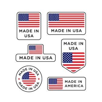 Verschiedene in den usa hergestellte etiketten setzen