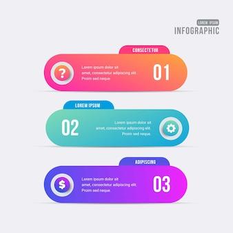 Verschiedene infografik-schritte mit farbverlauf