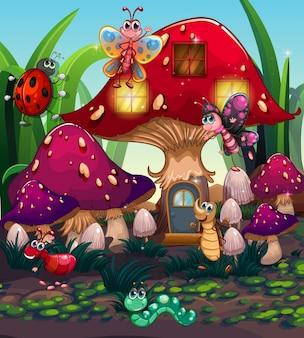 Verschiedene insekten, die im pilzhaus leben