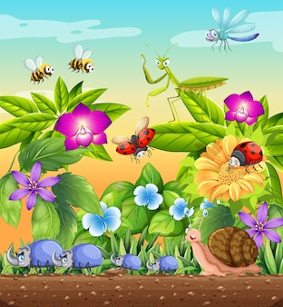 Verschiedene insekten, die tagsüber in der gartenszene leben