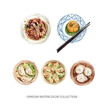 Verschiedene isolierte aquarell-dim-sum-illustration für dekorativen gebrauch.