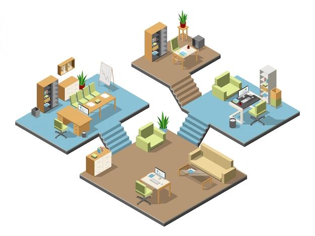 Verschiedene isometrische moderne büros mit möbeln