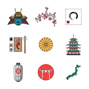 Verschiedene japanische ikonen des farbigen entwurfs eingestellt