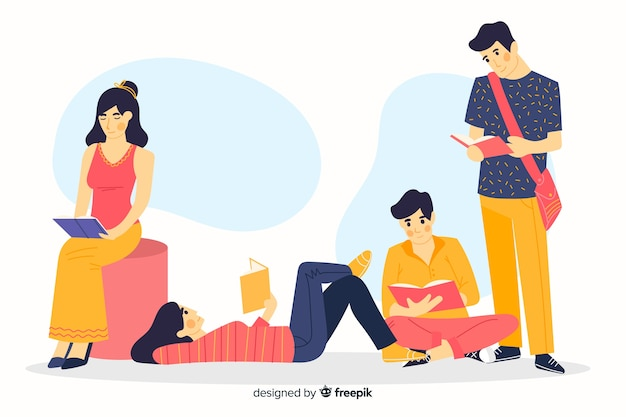 Verschiedene junge leute, die zusammen lesen