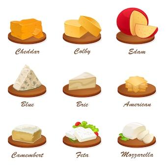 Verschiedene käsesorten auf schneidebrett Premium Vektoren