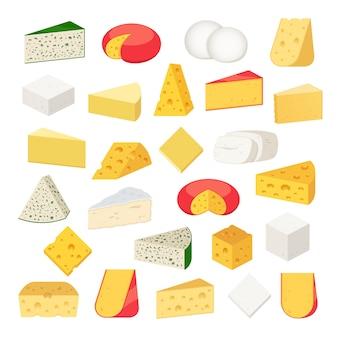 Verschiedene käsesorten detaillierte symbole