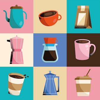 Verschiedene kaffeepräsentationen