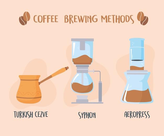 Verschiedene kaffeezubereitungsmethoden, türkischer siphon und aeropresse