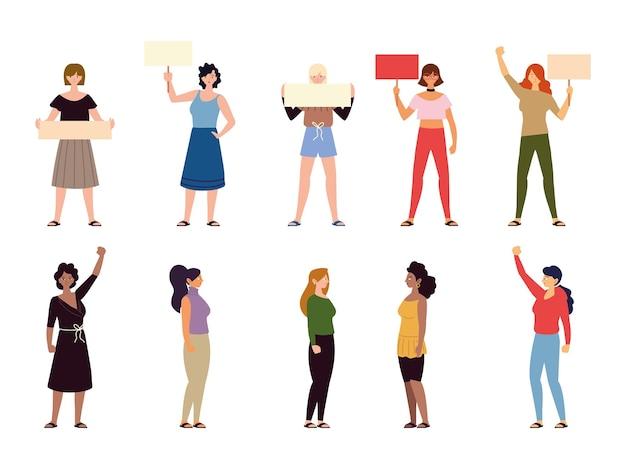 Verschiedene karikaturfrauen, die zusammen stehen und eine plakatillustration halten