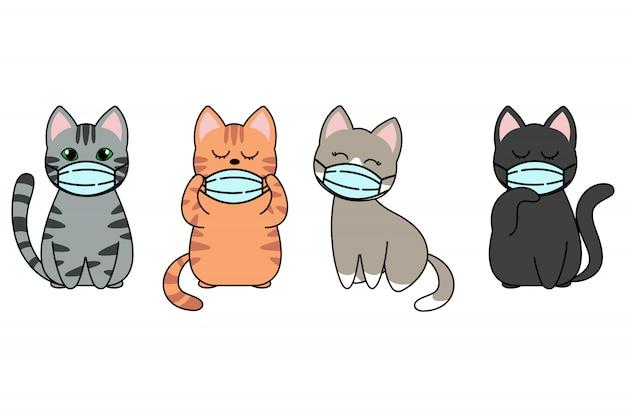 Verschiedene katzenfiguren mit gesichtsmasken