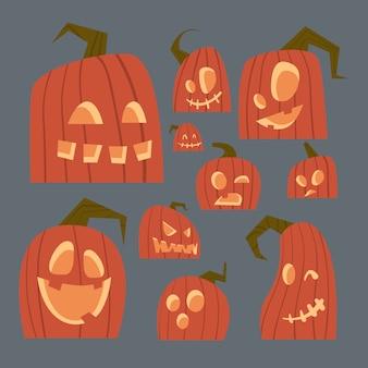 Verschiedene kürbis-gesichter stellten glückliche traditionelle symbol jack lanterns collection halloweens ein