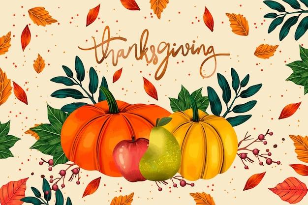 Verschiedene kürbisse aquarell thanksgiving hintergrund