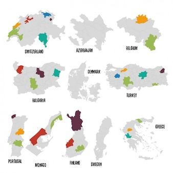 Verschiedene Länder politische Landkarte