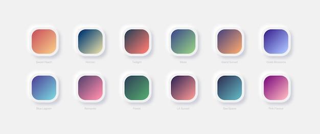 Verschiedene lebendige farbunterschiede verschiedene helle farbverläufe für ui-ux-design auf weißem neumorphischem hintergrund eingestellt