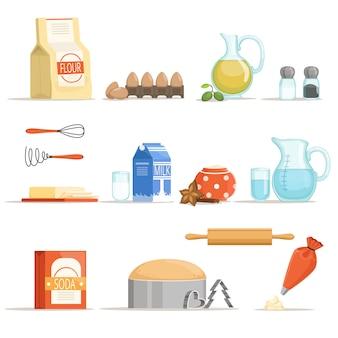 Verschiedene lebensmittelzutaten zum backen und kochen