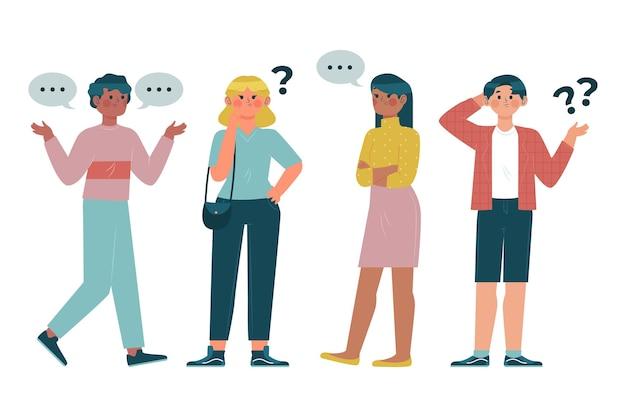 Verschiedene leute, die fragen stellen, illustriert