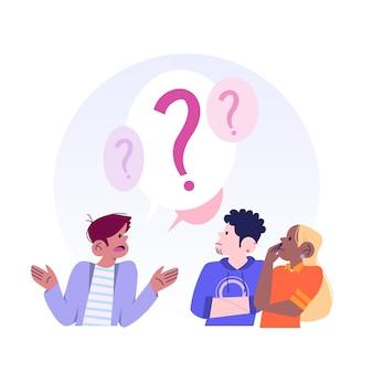 Verschiedene leute, die fragen stellen